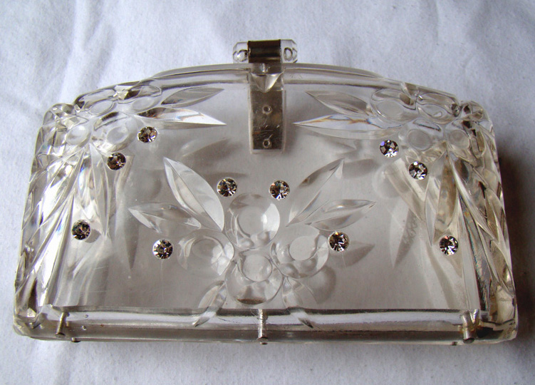 Vintage Handbags, Clear 1950's Purse - 50's Lucite Purse from propervintageclothing.com