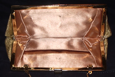vintage 1960's gold purse inside