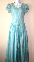 turquoise taffeta 1940s dress
