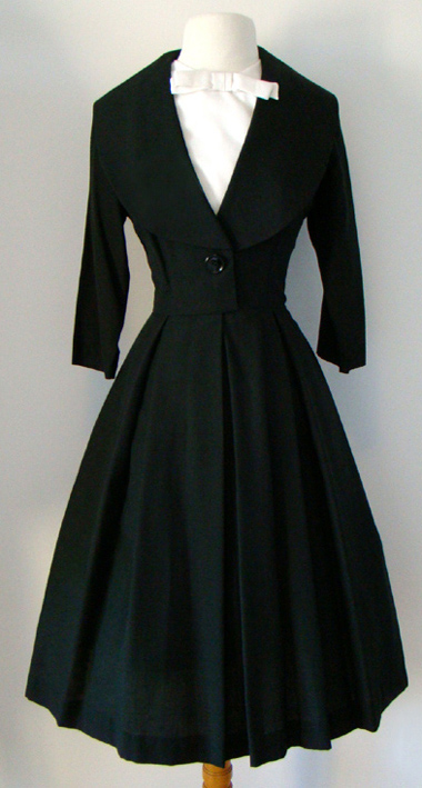 Vintage 1950's Dresses - Black 50's Dress - Proper Vintage Clothing