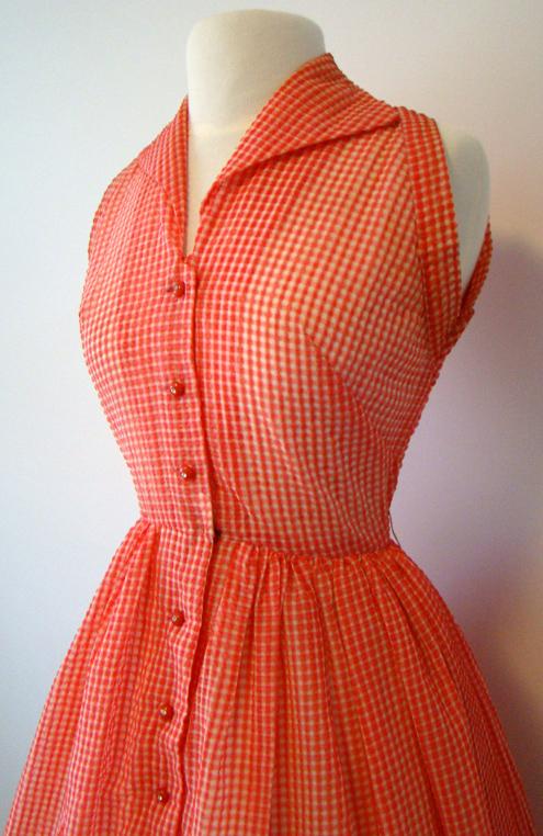 RED & WHITE 1950 s SUNDRESS