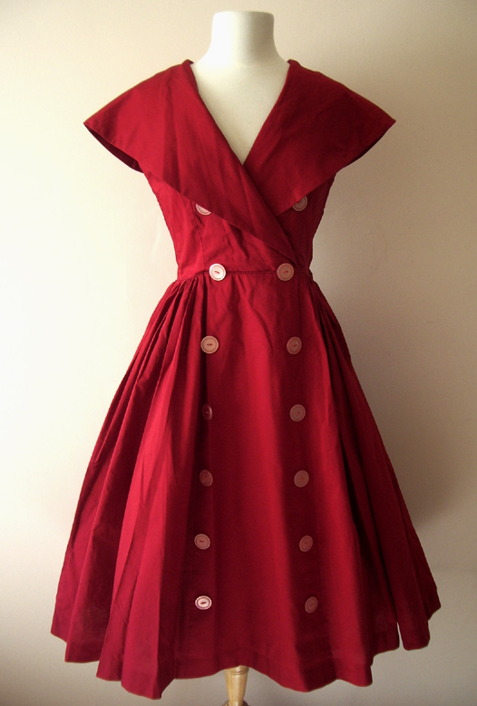 Vintage Red 1950's Dress - Vintage Dresses