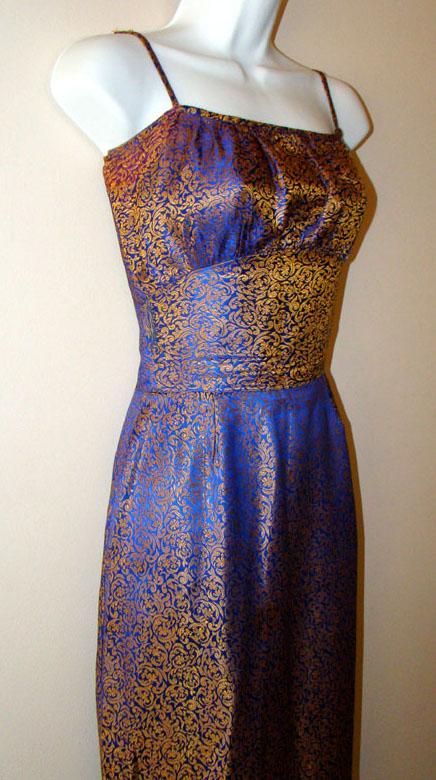 1960 s BLUE & GOLD BROCADE VINTAGE DRESS