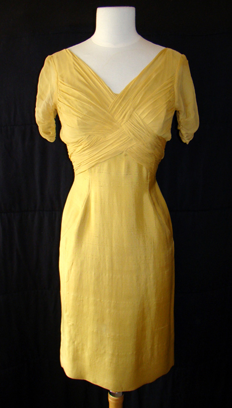 Proper Vintage Clothing, Vintage Dresses - Yellow 1960's Dress :  short sleeves zipper clothing vintage
