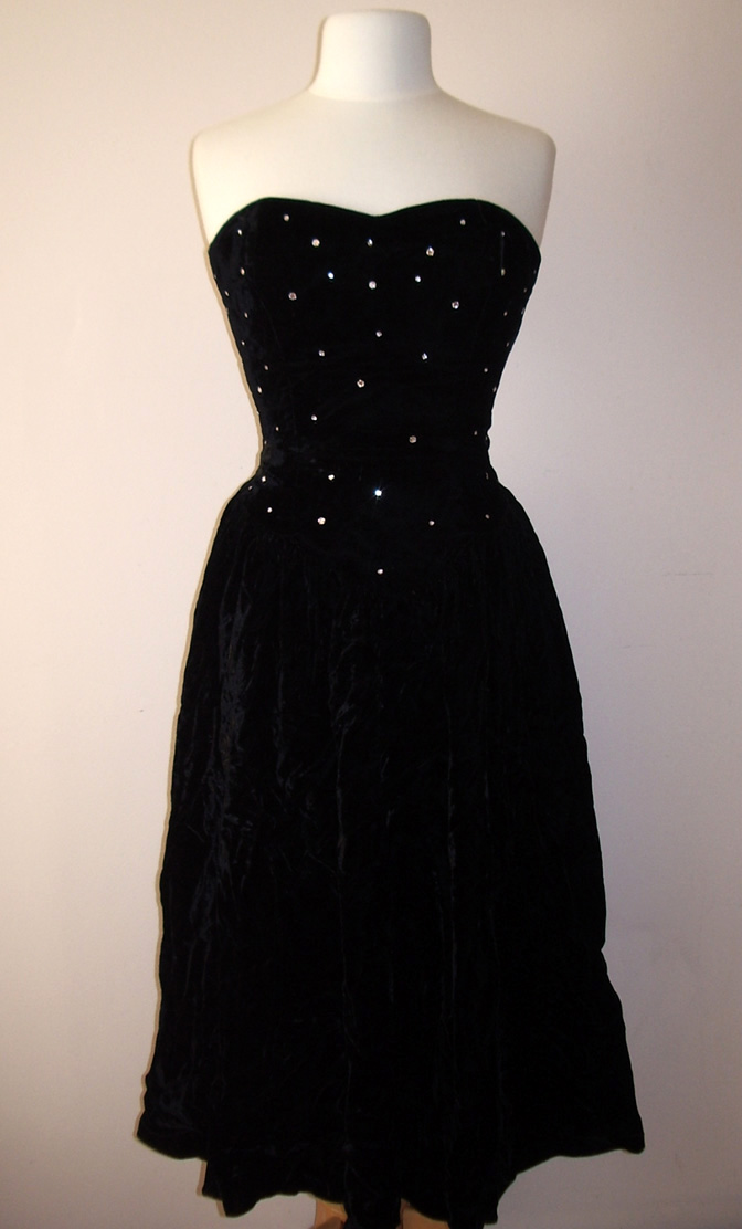 1980s Black Velvet Rhinestone Dress