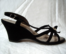 black 1940's wedge shoes